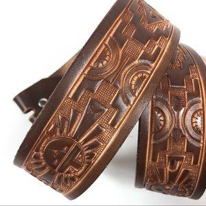 Embossed Leather Western Belt